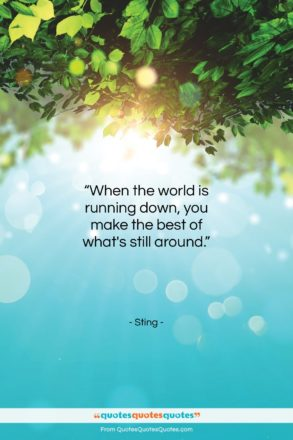 "Sting quote: ""When the world is running down, you…""- at QuotesQuotesQuotes.com"