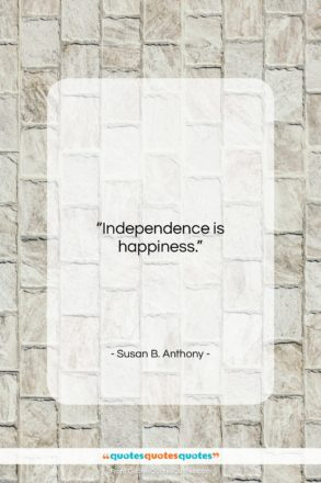 """Susan B. Anthony quote: """"Independence is happiness….""""- at QuotesQuotesQuotes.com"""