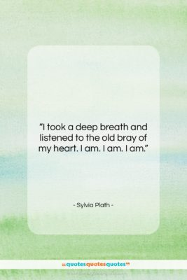 """Sylvia Plath quote: """"I took a deep breath and listened…""""- at QuotesQuotesQuotes.com"""