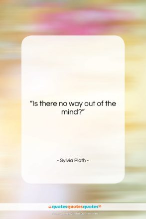 """Sylvia Plath quote: """"Is there no way out of the…""""- at QuotesQuotesQuotes.com"""