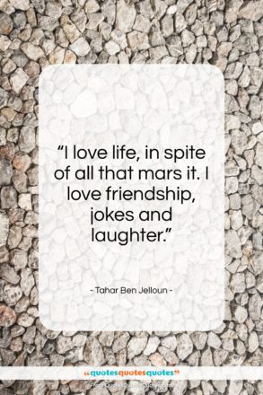 "Tahar Ben Jelloun quote: ""I love life, in spite of all…""- at QuotesQuotesQuotes.com"
