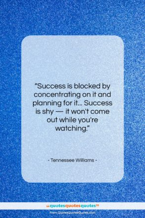 """Tennessee Williams quote: """"Success is blocked by concentrating on it…""""- at QuotesQuotesQuotes.com"""