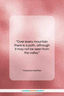 "Theodore Roethke quote: ""Over every mountain there is a path,…""- at QuotesQuotesQuotes.com"
