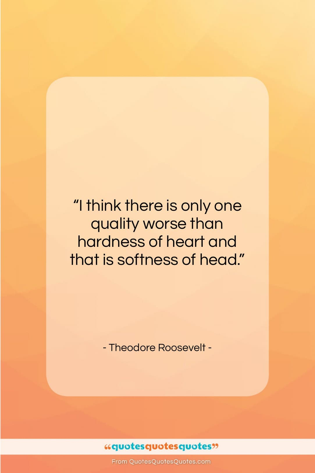 """Theodore Roosevelt quote: """"I think there is only one quality…""""- at QuotesQuotesQuotes.com"""