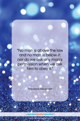 """Theodore Roosevelt quote: """"No man is above the law and…""""- at QuotesQuotesQuotes.com"""