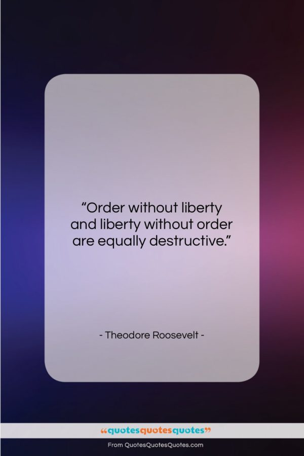 """Theodore Roosevelt quote: """"Order without liberty and liberty without order…""""- at QuotesQuotesQuotes.com"""