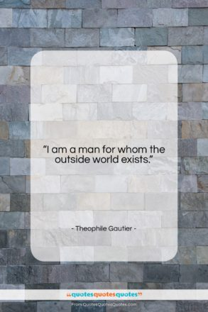 """Theophile Gautier quote: """"I am a man for whom the…""""- at QuotesQuotesQuotes.com"""