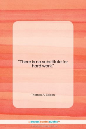 """Thomas A. Edison quote: """"There is no substitute for hard work….""""- at QuotesQuotesQuotes.com"""