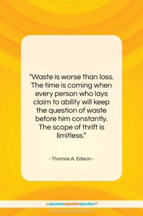 """Thomas A. Edison quote: """"Waste is worse than loss. The time…""""- at QuotesQuotesQuotes.com"""