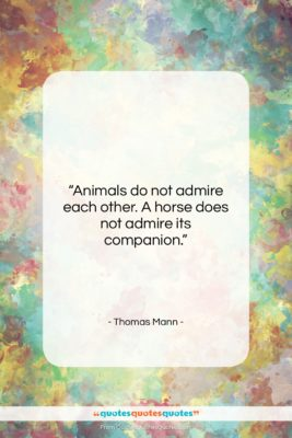"""Thomas Mann quote: """"Animals do not admire each other. A…""""- at QuotesQuotesQuotes.com"""