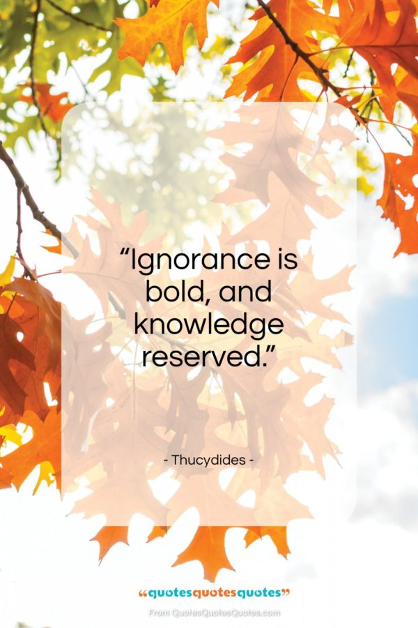 """Thucydides quote: """"Ignorance is bold, and knowledge reserved.""""- at QuotesQuotesQuotes.com"""