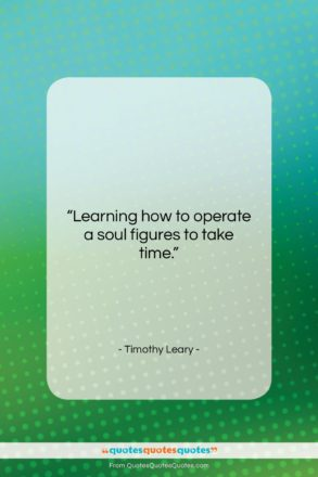 """Timothy Leary quote: """"Learning how to operate a soul figures…""""- at QuotesQuotesQuotes.com"""
