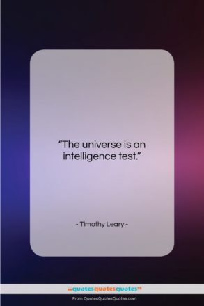 """Timothy Leary quote: """"The universe is an intelligence test….""""- at QuotesQuotesQuotes.com"""
