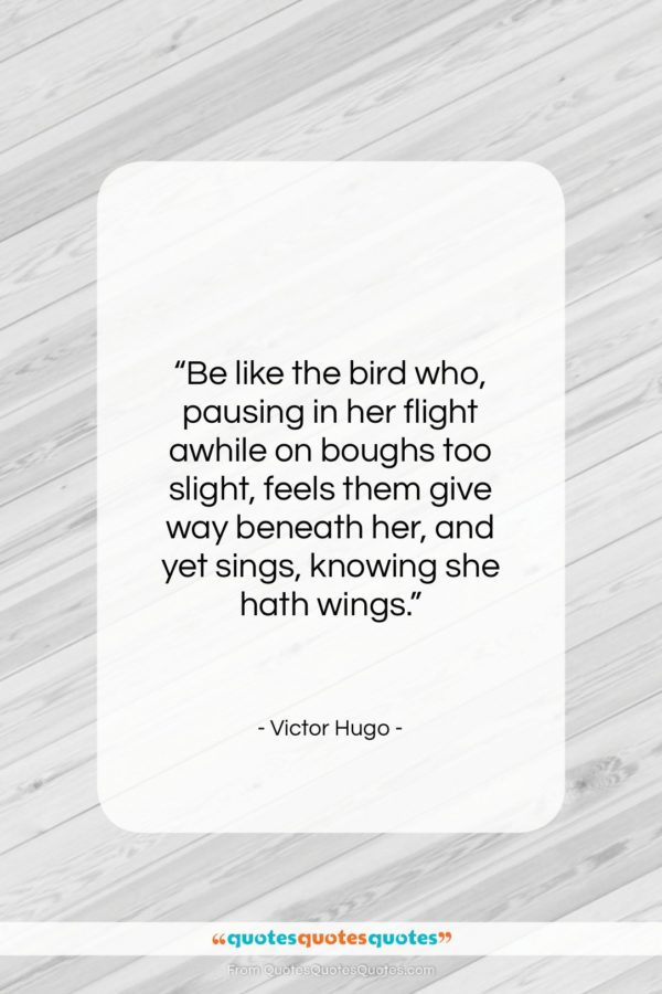 """Victor Hugo quote: """"Be like the bird who, pausing in…""""- at QuotesQuotesQuotes.com"""