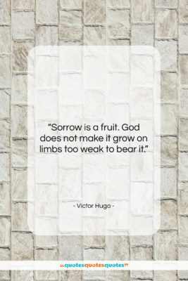 """Victor Hugo quote: """"Sorrow is a fruit. God does not…""""- at QuotesQuotesQuotes.com"""