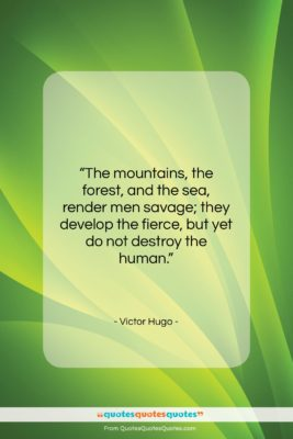 """Victor Hugo quote: """"The mountains, the forest, and the sea,…""""- at QuotesQuotesQuotes.com"""