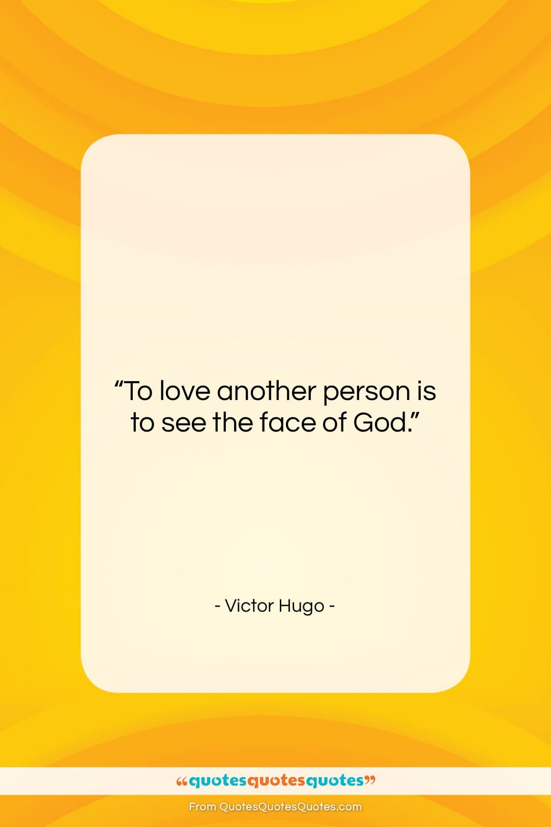 """Victor Hugo quote: """"To love another person is to see…""""- at QuotesQuotesQuotes.com"""