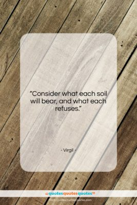 """Virgil quote: """"Consider what each soil will bear, and…""""- at QuotesQuotesQuotes.com"""