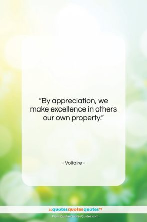 """Voltaire quote: """"By appreciation, we make excellence in others…""""- at QuotesQuotesQuotes.com"""
