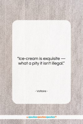 """Voltaire quote: """"Ice-cream is exquisite — what a pity…""""- at QuotesQuotesQuotes.com"""