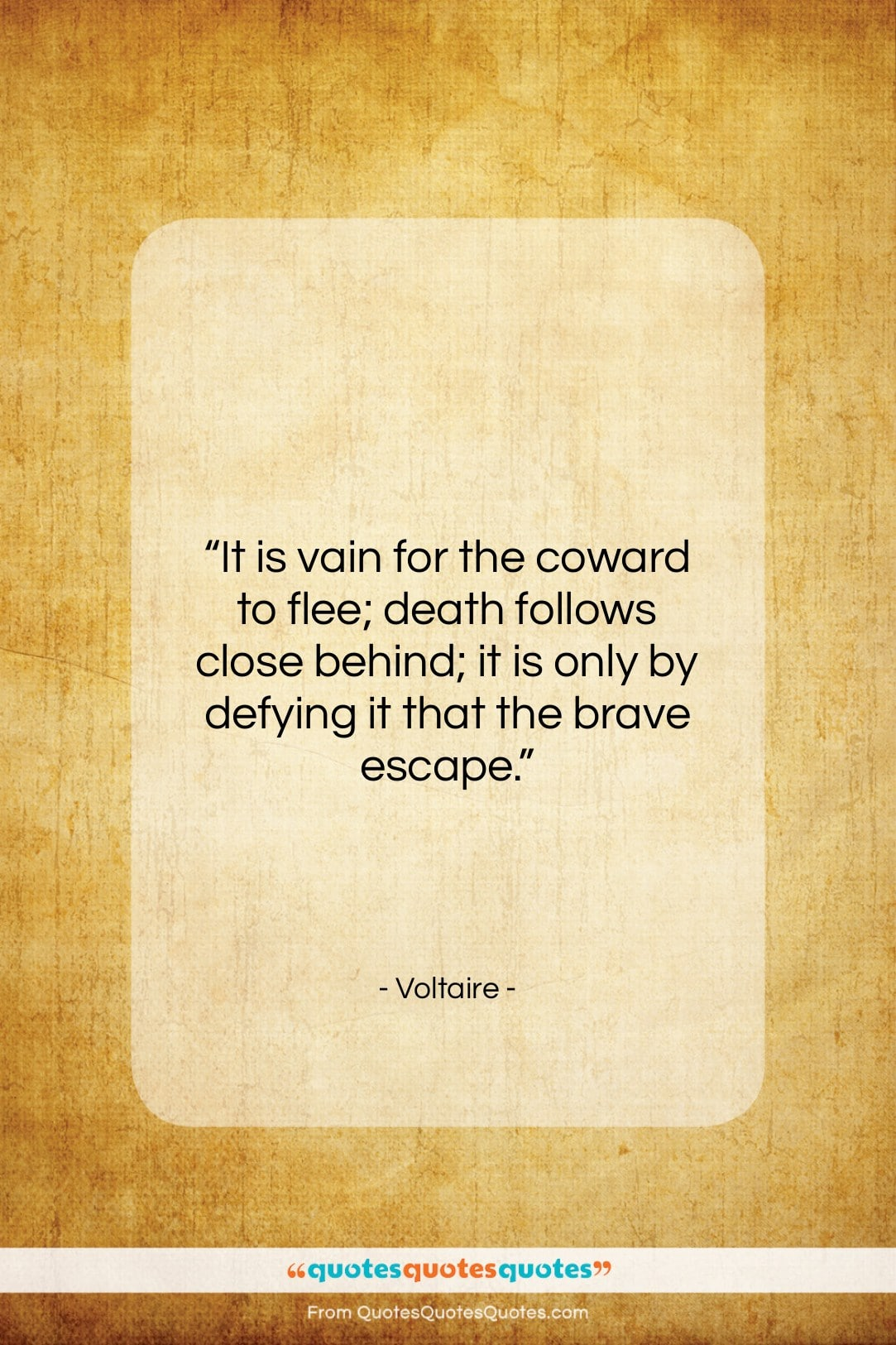 """Voltaire quote: """"It is vain for the coward to…""""- at QuotesQuotesQuotes.com"""