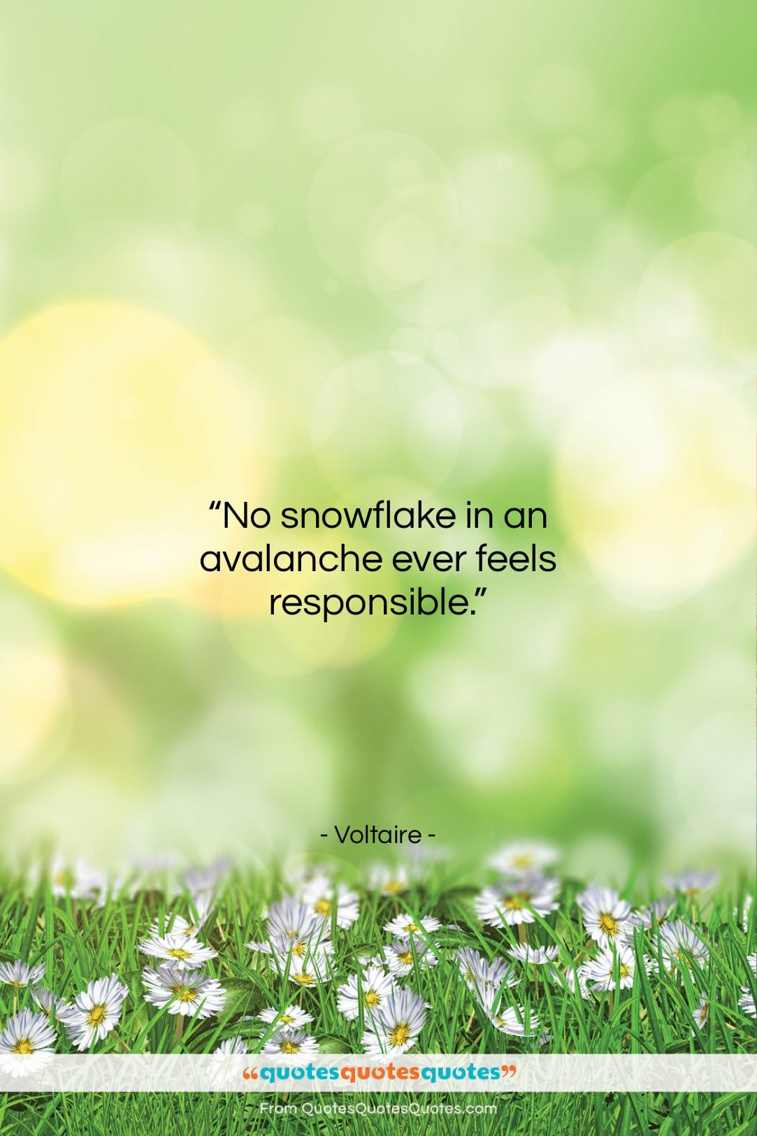 """Voltaire quote: """"No snowflake in an avalanche ever feels…""""- at QuotesQuotesQuotes.com"""