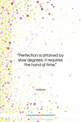 """Voltaire quote: """"Perfection is attained by slow degrees; it…""""- at QuotesQuotesQuotes.com"""