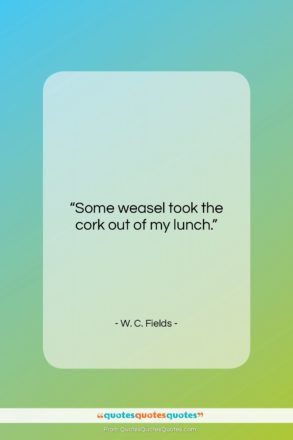 """W. C. Fields quote: """"Some weasel took the cork out of…""""- at QuotesQuotesQuotes.com"""