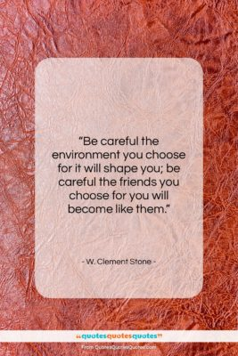 """W. Clement Stone quote: """"Be careful the environment you choose for…""""- at QuotesQuotesQuotes.com"""