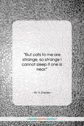 """W. H. Davies quote: """"But cats to me are strange, so…""""- at QuotesQuotesQuotes.com"""