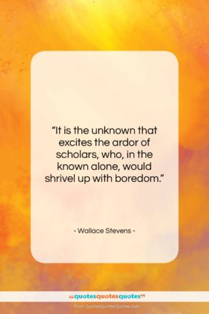 """Wallace Stevens quote: """"It is the unknown that excites the…""""- at QuotesQuotesQuotes.com"""
