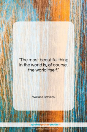 """Wallace Stevens quote: """"The most beautiful thing in the world…""""- at QuotesQuotesQuotes.com"""
