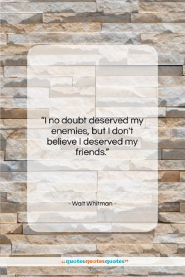 """Walt Whitman quote: """"I no doubt deserved my enemies, but…""""- at QuotesQuotesQuotes.com"""