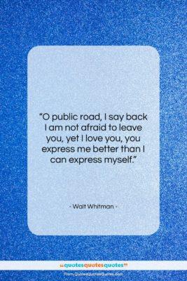 "Walt Whitman quote: ""O public road, I say back I…""- at QuotesQuotesQuotes.com"