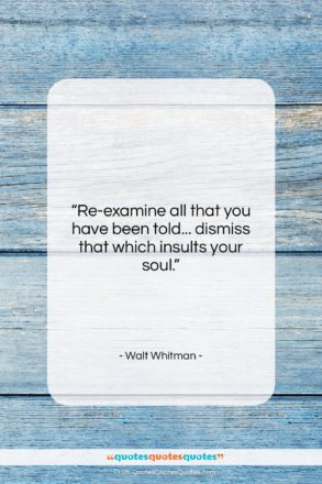 """Walt Whitman quote: """"Re-examine all that you have been told……""""- at QuotesQuotesQuotes.com"""