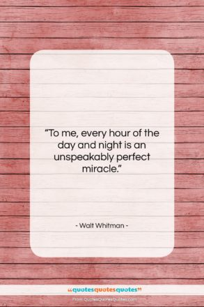 """Walt Whitman quote: """"To me, every hour of the day…""""- at QuotesQuotesQuotes.com"""