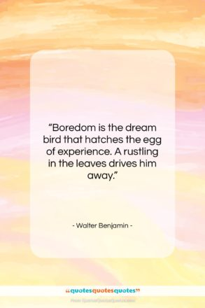 """Walter Benjamin quote: """"Boredom is the dream bird that hatches…""""- at QuotesQuotesQuotes.com"""
