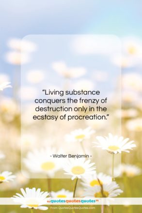 """Walter Benjamin quote: """"Living substance conquers the frenzy of destruction…""""- at QuotesQuotesQuotes.com"""