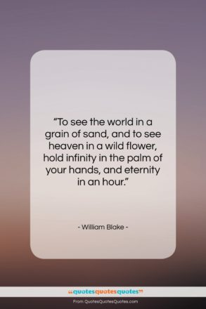 """William Blake quote: """"To see the world in a grain…""""- at QuotesQuotesQuotes.com"""