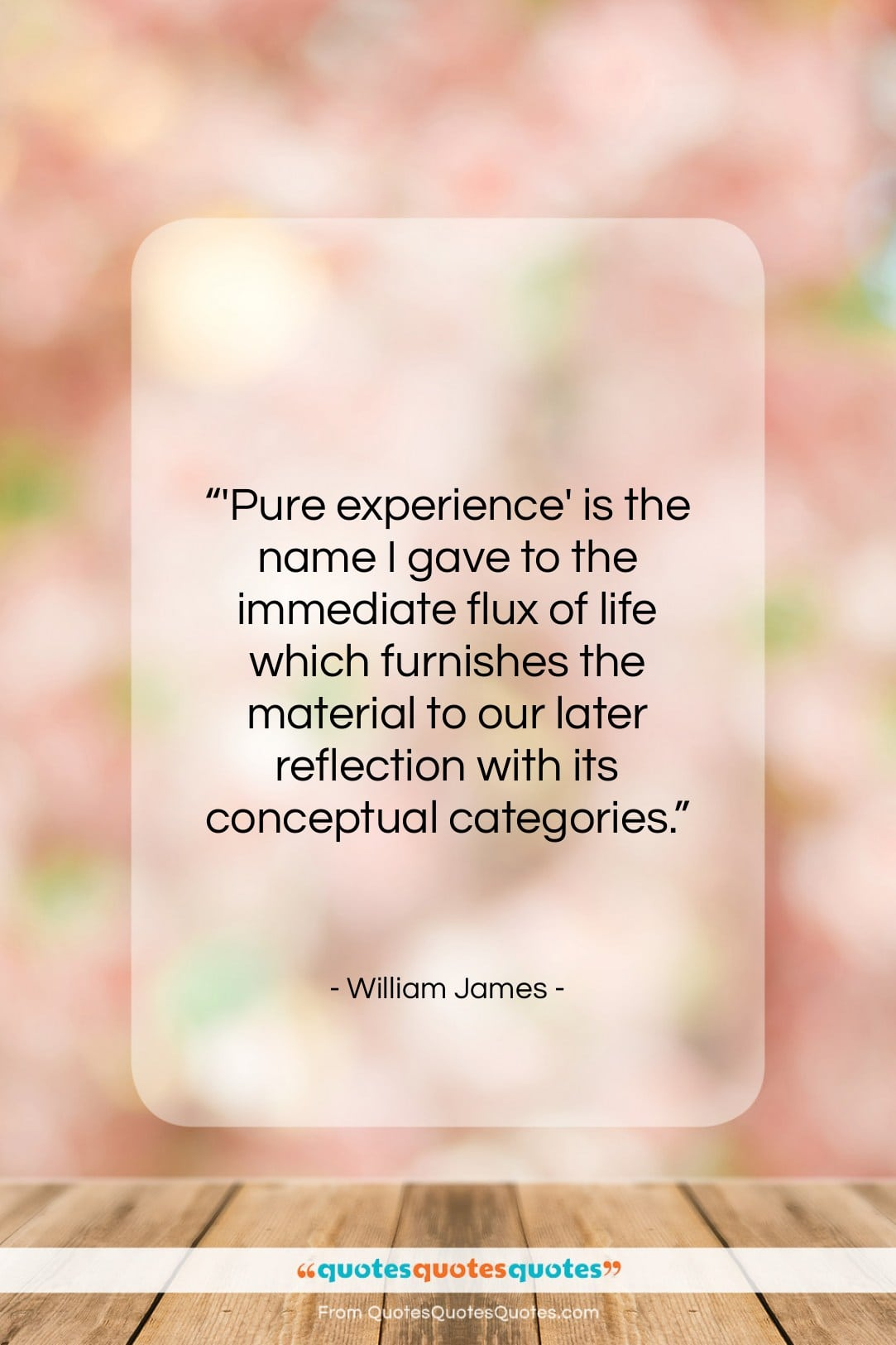 """William James quote: """"'Pure experience' is the name I gave…""""- at QuotesQuotesQuotes.com"""