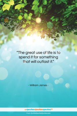 "William James quote: ""The great use of life is to…""- at QuotesQuotesQuotes.com"