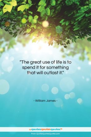 """William James quote: """"The great use of life is to…""""- at QuotesQuotesQuotes.com"""