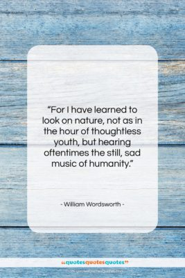 """William Wordsworth quote: """"For I have learned to look on…""""- at QuotesQuotesQuotes.com"""