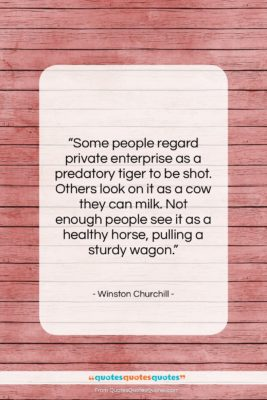 """Winston Churchill quote: """"Some people regard private enterprise as a…""""- at QuotesQuotesQuotes.com"""