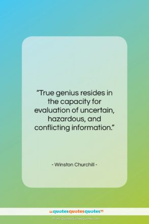"""Winston Churchill quote: """"True genius resides in the capacity for…""""- at QuotesQuotesQuotes.com"""