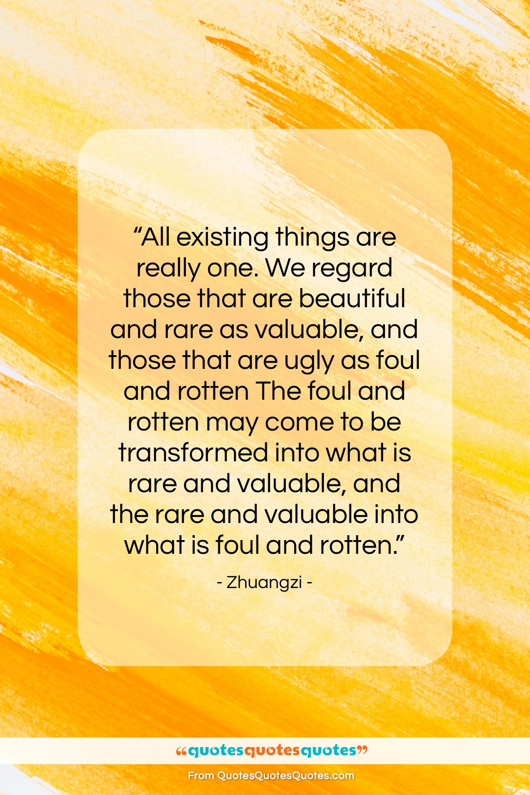 """Zhuangzi quote: """"All existing things are really one. We…""""- at QuotesQuotesQuotes.com"""